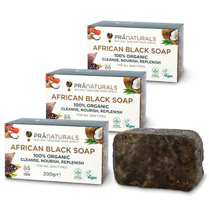 PraNaturals Pack of 3 Organic African Black Soap Face Body Anti-Ageing 200g Bar