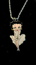 white Sexy Ohh LaLa Dress Betty Boop Chained charm Monroe stance Necklace