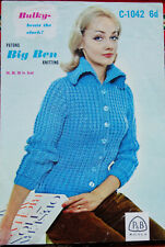 "Vintage Knitting Pattern Womens Jacket - 34""- 38"" Chunky -  P&B C-1042"