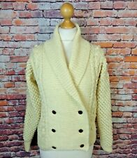 Vintage cream chunky hand cable aran knit double breasted cardigan bobble M 12