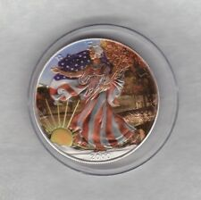 COLOURED FLAG 2000 USA ONE OUNCE SILVER EAGLE IN NEAR MINT CONDITION + CAPSULE