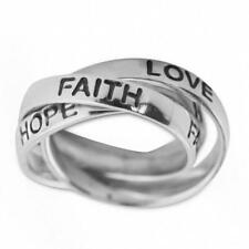 Hope, Love, Faith Sterling Silver Ring (Size 6)