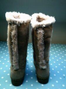 Ladies Beige Suede/Fur Boots size 5 by Freemans worn once