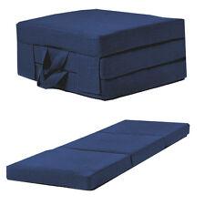 Blue Linen Effect Single Chair Z Bed Folding Futon Fold out Foam Guest Mattress