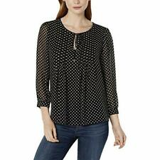 Tommy Hilfiger Women's Crew Neck Puff Sleeve Polka Dot Blouse (Black, S)