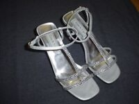 SILVER GRAY STRAPPY SANDALS HEELS RHINESTONES WOMANS shoe size 6 TOUCH UPS