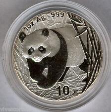 Cina 10 Yuan 2001 ORSO PANDA  @ 1 oncia argento puro @