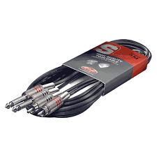 1 Câble 2 Jack Mâle MONO vers 2 RCA Mâle Fiches Métal Repérées Long 6 Métres
