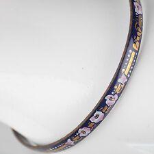 Vintage Emaille Armreif ∅ 6,2 Blumen Schmuck 70er blau, gold, rosa Armring 14