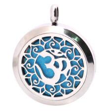 *7th Crown Lotus Chakra Diffuser Necklace Locket Stainless Still 10ml Oil 11Pads