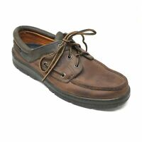 Men's Timberland Boat Shoes Oxfords Shoes Size 9.5M Brown Leather Made USA AE12