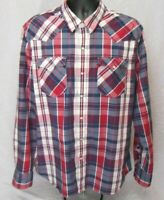 EUC XXL Mens Levis Pearl Snap Long Sleeve Western Shirt Plaid Red Blue