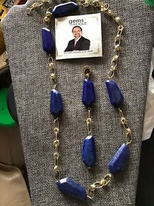GEMS EN VOGUE GORGEOUS LAPIS NECKLACE IN GOLD VERMAIL OVER STERLING SILVER
