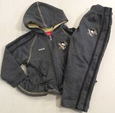 Pittsburgh Penguins Girl's Toddler 2PC Sweat Pants Hooded Zip Jacket Size 4T