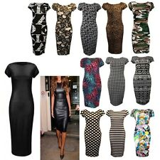 Ladies Printed Short Cap Sleeves Stretch Fit Bodycon New Casual Midi Dress Plus