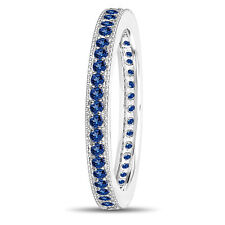 Platinum Sapphire Eternity Wedding Band Eternity Ring 0.50 Carat Pave Handmade