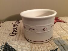 Longaberger Pottery Woven Traditions 1 Pint Salt Crock Traditional Red - U.S.A.