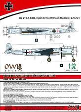 Owl Decals 1/32 HEINKEL He-219A-0 R6 Hptm Ernst-Wilhelm Modrow 2./NJG.1