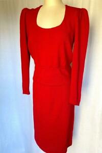"""Vintage St. John by Marie Gray knits red puff sleeved sweater M 10 skirt 31"""" W"""