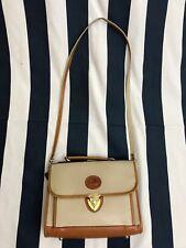 Vintage Dooney & Bourke Biege Leather Messenger Attache Shoulder Bag Locket D&B☕
