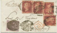 GB 1865 QV 1d rose-red Pl.87 (4 x) + 6d lilac w hairlines LATE FEE 4 D HAMBURG