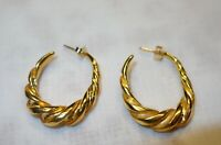 Vintage MMA Metropolitan Museum of Arts Gold Tone Twisted HOOP Pierced Earrings