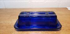 VINTAGE COLBALT BLUE DEPRESSION GLASS BASKET CROSS BUTTER DISH