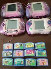 Pink & Purple LeapFrog Leapster Learning Game System (4) LOT with 12 Games