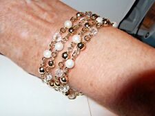 "NWT Charter Club Gold-Tone Faux Pearl& Crystal Four-Row Bracelet w/Clasp 8"" $26"
