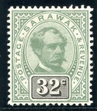Sarawak 1897 QV 32c green & black MLH. SG 19. Sc 19.