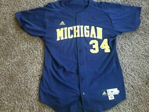 2010 Michigan Wolverines #34 Adidas Baseball Team Issued Jersey 46 Game