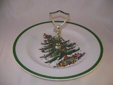 Vintage Spode Christmas Tree Single Tidbit Tray Server Made in England S3324 F