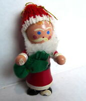 Santa Claus Wooden Christmas Ornament 1984 vintage with green bag