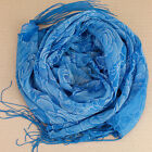 Sheer Slinky Soft Blue Floral Scarf with Sparkly Butterflies and Tassels