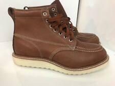"Vtg 6"" Work Moc Crepe Sole Boots VTG sz 9 E Leather Steel Toe Safety Work"
