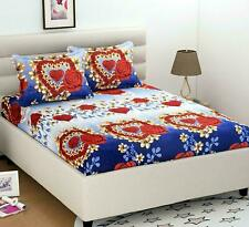 148 TC Microfiber Floral Heart Printed Double Bedsheet with 2 Pillow Covers, Red