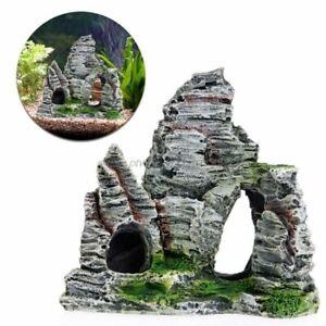 Aquarium Glass Fish Tank Mountain View Rock Cave Stone Tree