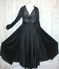 Olga Nightgown Sweep Vtg Rare Twisted 9292 Black  PEIGNOIR SET 9788 Robe Sz M