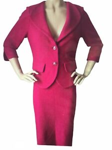 NEW ST JOHN KNIT SZ 10 SKIRT SUIT COSMO PINK SHIMMER TWEED KNIT WOOL RAYON