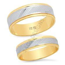 14K Two Tone Gold Matching Wedding Band Ring Set Engagement Mens Womens Unisex