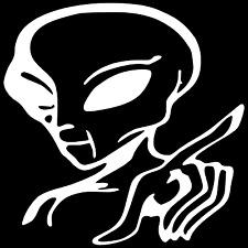 Alien With A Attitude UFO Car Truck Window Wall Laptop Vinyl Decal Sticker.