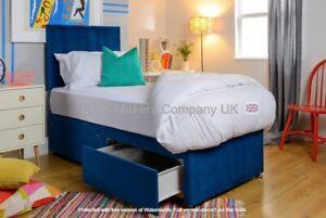 Blue Suede Divan Bed Base with Storage Option & Headboard ✅BEST ONLINE