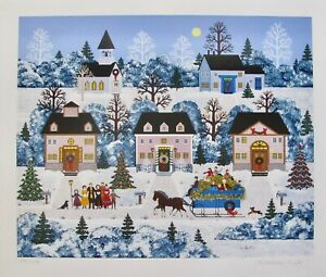 Jane Wooster Scott HOLIDAY SLEIGH RIDE Hand Signed Limited Edition Serigraph Art