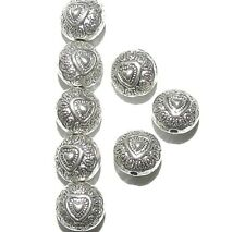 MBX7111 Antiqued Silver 10mm Flat Puffed Round Heart Deco Metal Beads 100pc