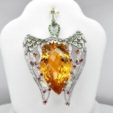 120.81 Carat Natural Citrine Pendant With Ruby & Tsavorite Garnet in 925 Silver