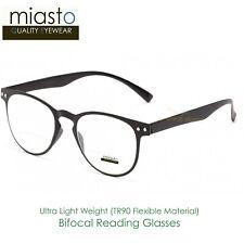 MIASTO ROUND PREPPY READER READING GLASSES+2.00 LIGHT & FLEXIBLE (BIFOCAL) BLACK