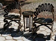 2 Gregg Fleishmann Sculptchair Alicia Modern Chairs + 1 Table Black Puzzle Wood