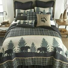 6-Pc King Quilt Set - Bear Walk Plaid Rustic Lodge Nature Cabin Bedding
