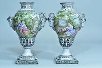 Paire de Grande vase faience fine Potiche signé 19 ème Italie Décor peint rare