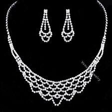 Bridal Wedding Jewelry Prom Rhinestone Crystal Necklace Earrings Set N349